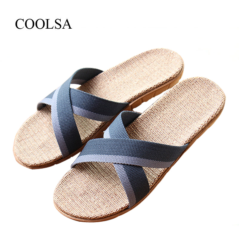 COOLSA Men's Summer Mixed Colors Cross-tied Linen Slippers Flat Indoor EVA Sole Breathable Flax Slippers Men's Flip Flops Slides coolsa women s summer flat non slip linen slippers indoor breathable flip flops women s brand stripe flax slippers women slides