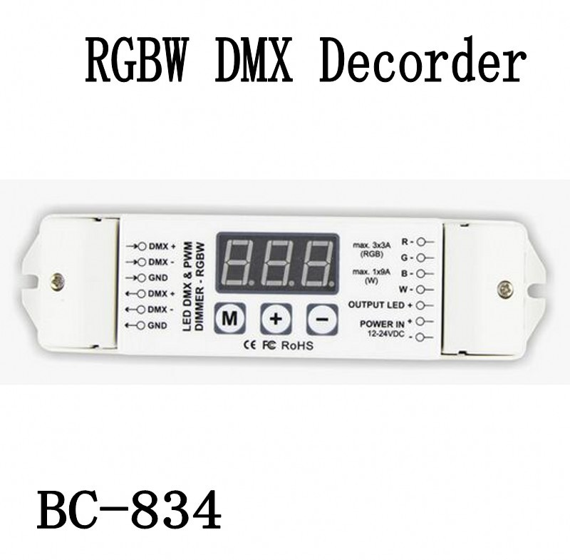 bc 834 dmx512 decoder 12v  24v rgb white  warm white led