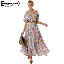 Everkaki 2017 Lovebird Half Moon Gown Print Boho Dress Summer Women Long Dress Spell design Gypsy Empire Dress V Neck vestidos