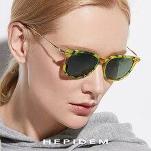 HEPIDEM Pure B Titanium Acetate Polarized Sunglasses Men Fashion Brand Designer Vintage Square Mirrored Sun Glasses for Women