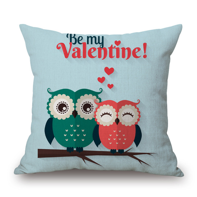 Square 18″ Owl Linen Pillow Covers Pattern Decorative Love Pillow Covers Home Pillow Dec oration Colored Pillow Cases