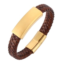 Fashion Vintage Men Bracelet Brown leather bracelet gold stainless steel magnetic buckle bracelet male Jewelry gift BB0250 все цены