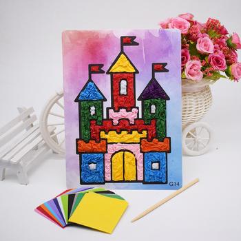 Diy rzemiosło materiał zabawki dla dzieci czuł papier rękodzieło materiał dzieci przedszkole zabawna sztuka i rzemiosło dziewczyna chłopiec nowy prezent tanie i dobre opinie AC6371 Do not eat Zwierzęta i Natura 5 ~ 7 Lat 8 ~ 13 Lat Rainbow papieru NoEnName_Null Castle