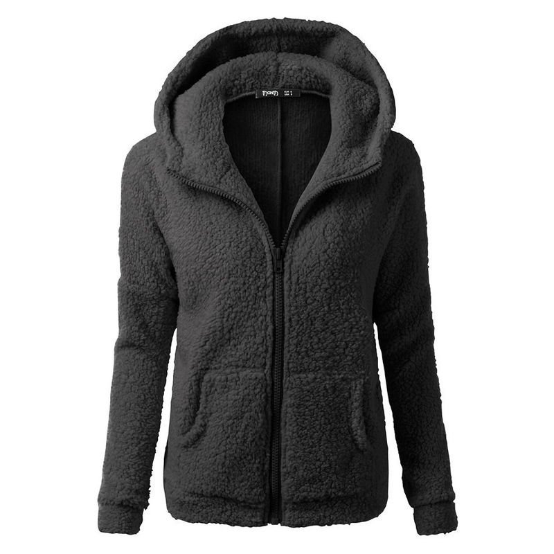 Europe and the United States fashion solid color women's long-sleeved zipper pocket hooded sweatshirt