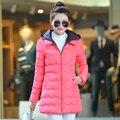 2016 algodão-acolchoado jaqueta casaco de inverno das mulheres de médio-longo das mulheres de inverno fino outerwear feminino