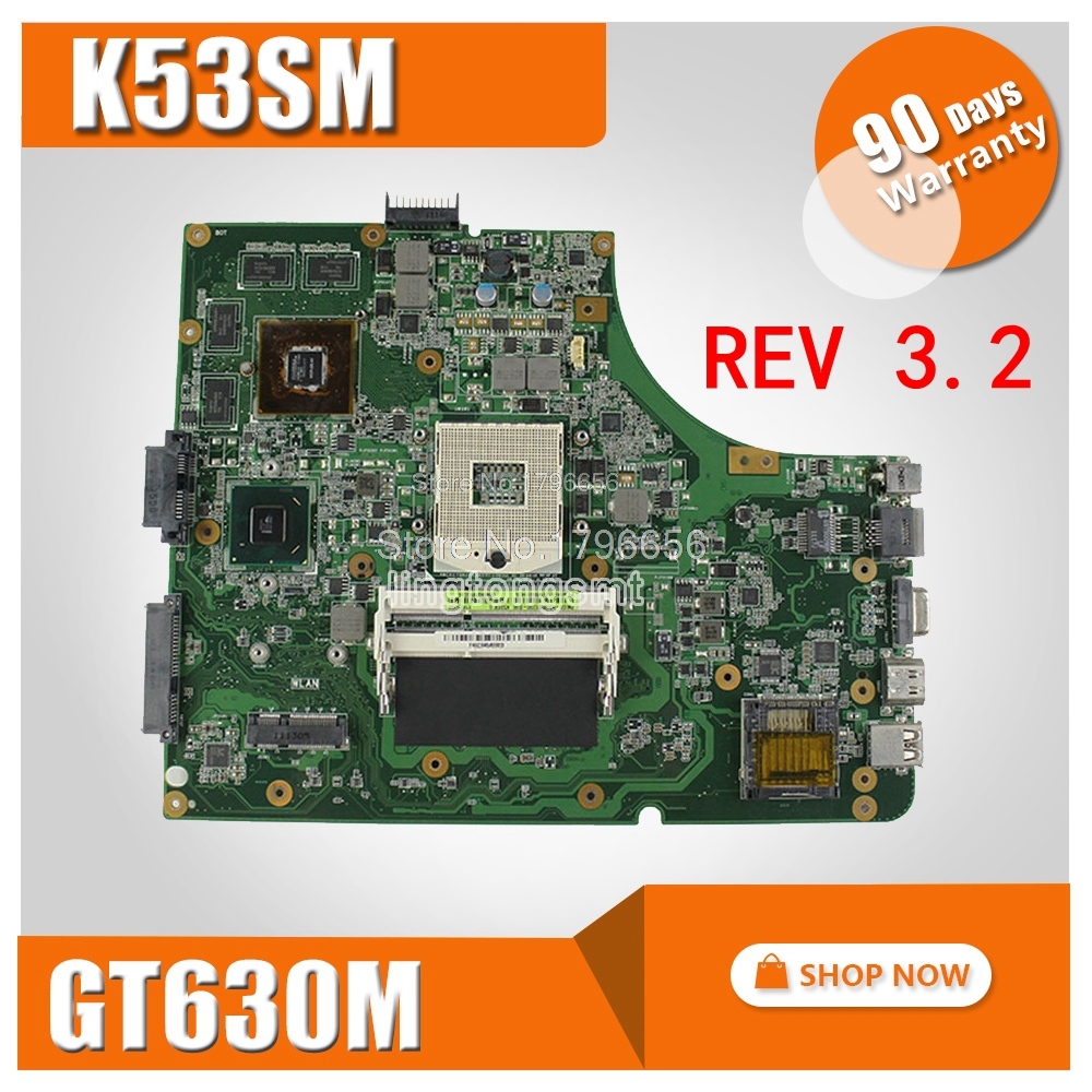 цена на REV 3.2 K53SM motherboard GT630M 2GB For Asus K53SV X53S A53S K53S K53SM with USB 3.0 Loptop mainboard K53SV K53SM motherboard