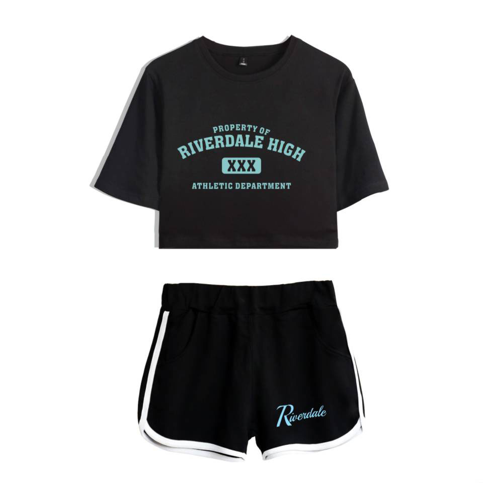 2018 Riverdale Cotton Printed T shirt Two Piece Set Summer Riverdale South Side Suit Shorts Crop Fashion Tops and Shorts Pants