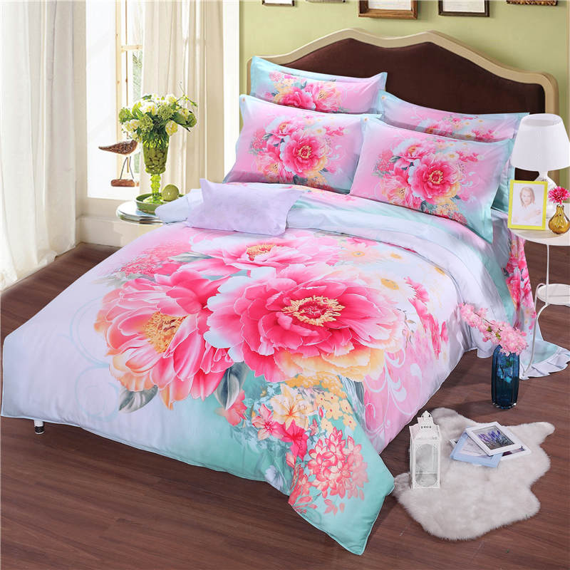 Luxury Chinese Peony Flower Printed Bedding Sets Coverlets