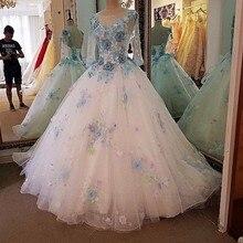 Backlake Luxo vestido de noiva com mangas beading 3D flores ball vestido lace vestidos de noivas do vestido de casamento fotos reais