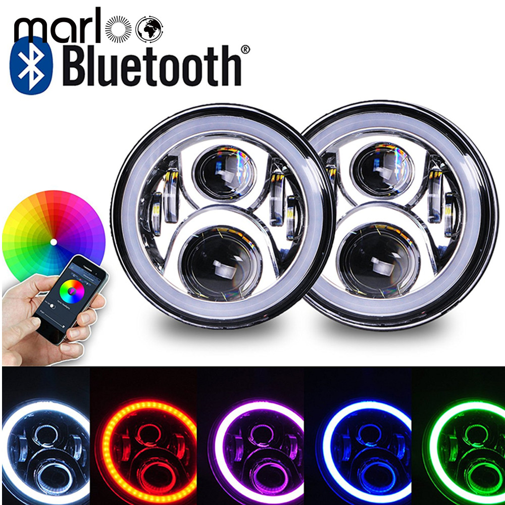 Marloo 7 inch LED RGB Headlight 7 Round DRL Headlamp Flashing RGB Angel Eye Halo Ring Bluetooth Controlled for Jeep Wrangler JK