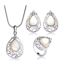 ФОТО water drop opal pendant necklace earrings ring set classic women wedding jewelry sets gold color heart collier brinco vaz
