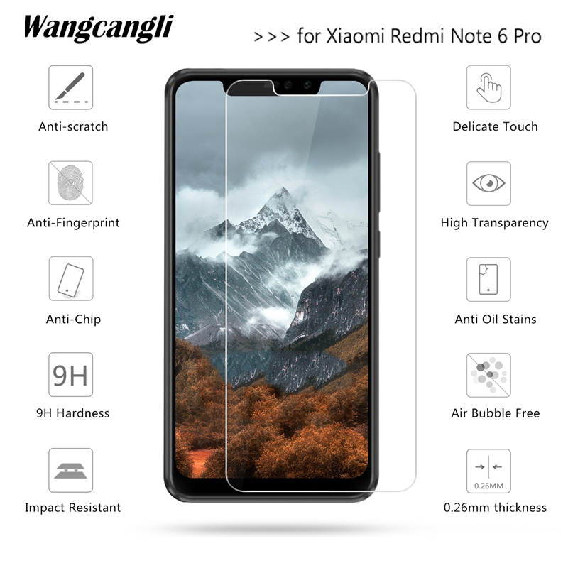 Tempered Glass for Xiaomi Redmi Note 6 Pro Screen Protector 9H 2.5D Phone Protective Glass on for Xiaomi pocophone f1 Glass