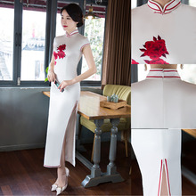 Sexy Women Cheongsam Dress White Evening Silk traditional chinese Wedding Married  clothes Qipao chinois marriage YTRJ0508