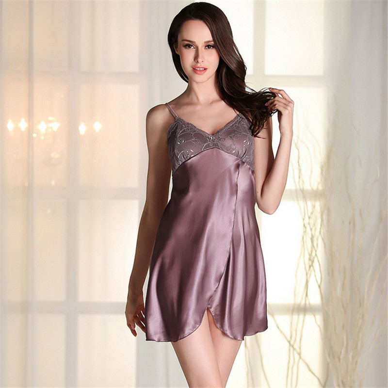 Women's sexy lingerie for ladies satin teddy pajamas deep v backless nightgowns