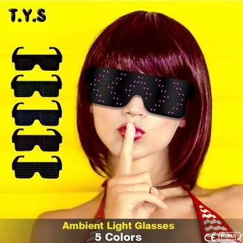 d785c23a07 Novedad de neón luminoso Led gafas luz 8 modos de carga USB gafas dinámica  brillante Festival