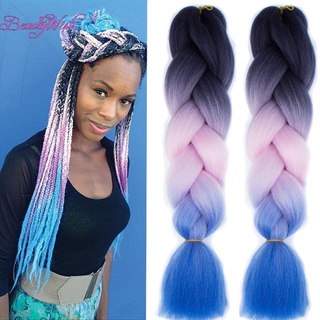 Light blue and black hair
