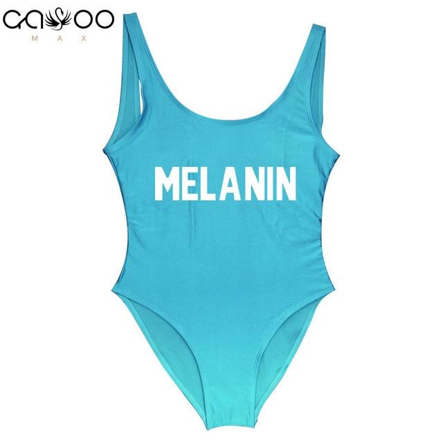 0213d3bb2b3fa MELANIN Letter Printing One Piece Swimsuit Swimwear Women High Cut 2018 Bathing  Suit Pink Monokini Bodysuit Beachwear Girls