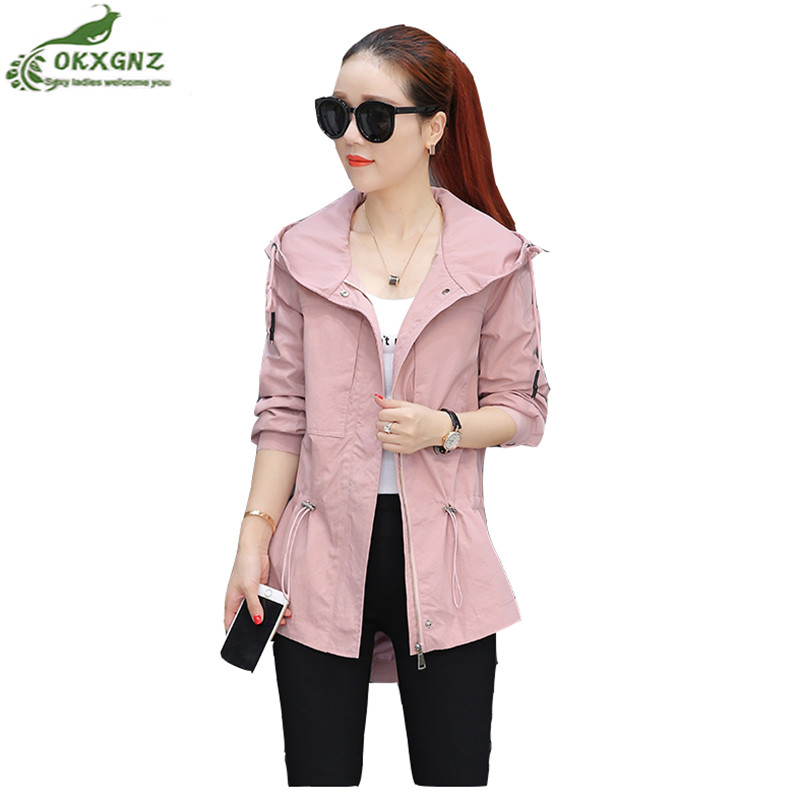 Spring autumn with new windbreaker coat women fashion hooded