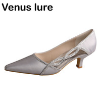 Venus lure 21 Colors Womens Shoes Silver Low Heels Pointed Toe Party Evening Shoes