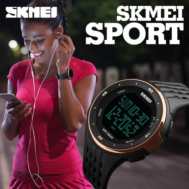 SKMEI Элитный бренд Для женщин LED Винтажные часы 50 м Водонепроницаемый Военная Униформа спортивный Часы для Для мужчин модные силиконовые Для женщин Наручные часы