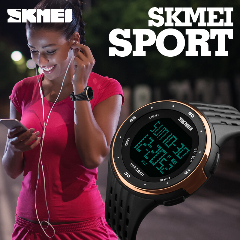 SKMEI Luxury Brand Women LED Digital Watches 50m Waterproof Military Sport Watches For Men Fashion Silicone Women Wristwatches