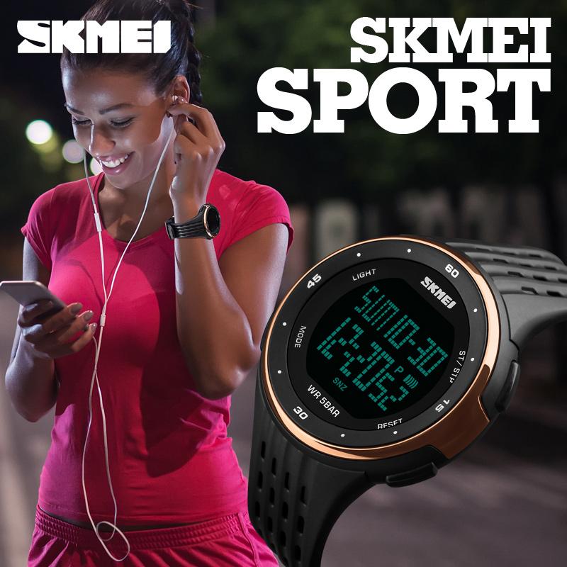 Prix pour SKMEI Marque De Luxe LED Montre Numérique 50 m Étanche Sport Militaire Montres Pour Hommes Femmes Multifonctionnel Montres Occasionnels