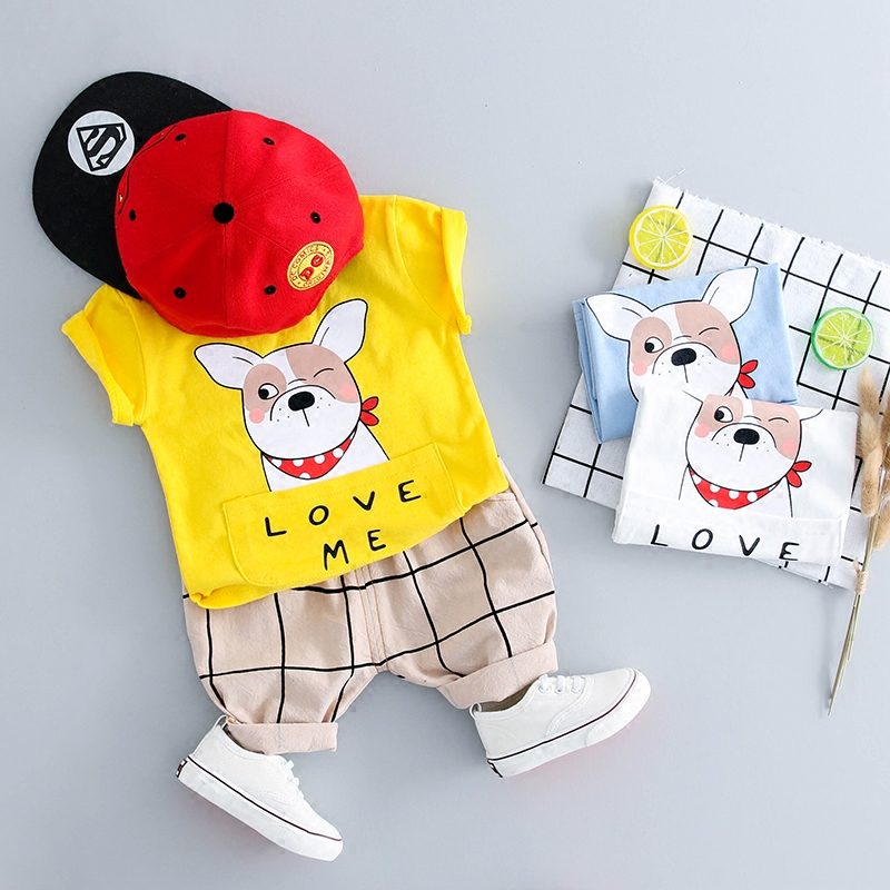 Cute Baby Boys Clothes Set Summer Cartoon Baby Girls Clothing Sets Casual Sport Suits Cotton Kids Children Boys Clothes