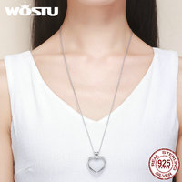 WOSTU New Arrival 100 925 Sterling Silver Heart Floating Pendant Necklaces Fit Petite Charms For Women