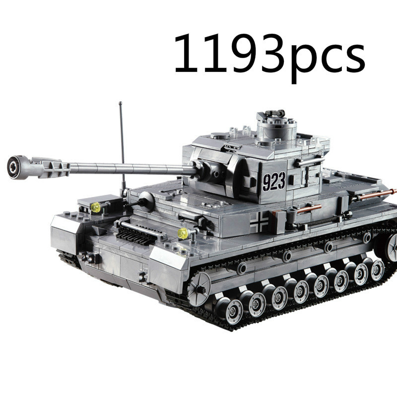 Large Panzer IV Tank 1193pcs Building Blocks Military Army Constructor set Educational Toys for Children qunlong military 8in1 829pcs 8 figures building blocks compatible legoed tank warship army war toys for children constructor set