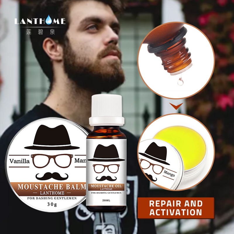 Organic Beard and Moustache Grooming Kit Beard Oil Men Facial Hair Care Moustache Wax Beard Gift Set Styling Moisturizing Barbe 1