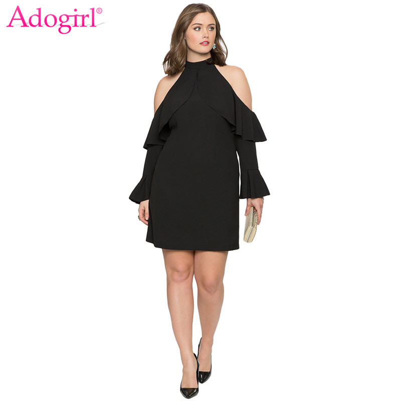 Adogirl Plus Size Womens Cold Shoulder Ruffle Casual Mini