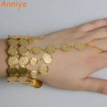 Anniyo Arab Coin Cuff Bangle Gold Color for Women Muslim Ethnic Bracelet Middle Eastern Jewelry Ethiopian Wedding Gifts #068206