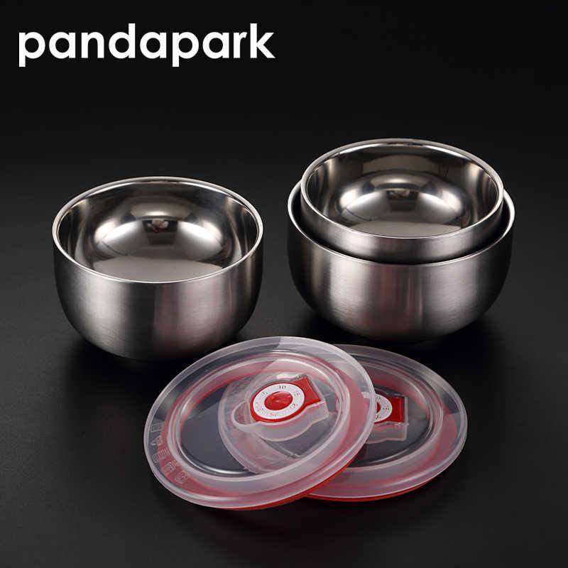 Pandapark stałe odporna na zalanie miska podwójne warstwy sałatka miska ze stali nierdzewnej Ramen miski z pokrywką pojemnik na żywność Lunch Box PPS008