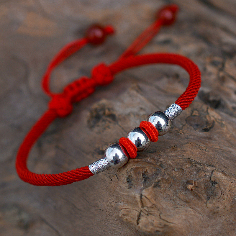 Real Pure 999 Sterling Silver Round Beads Lucky Red Rope Handmade Bracelet For Men And Women Tibetan String Gift Dropshipping s925 sterling silver bell lucky red rope bracelet handmade bracelets wax string amulet jewelry 1383