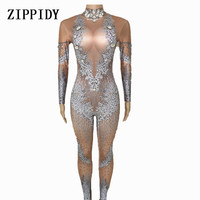 Big Stretch Nude Rhinestones Jumpsuit Sexy Spandex Bodysuit Stage Performance Party Celebrate Bright Costume Stage Dance Outfit