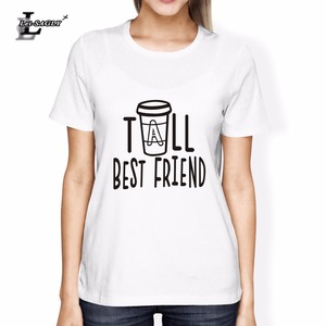 Lei-SAGLY Women Cute Best Friend Tall and Short Matching Letter T-Shirt BFF Shirt Lovers Tee Shirt Femme Cotton Plus Size S-3XL