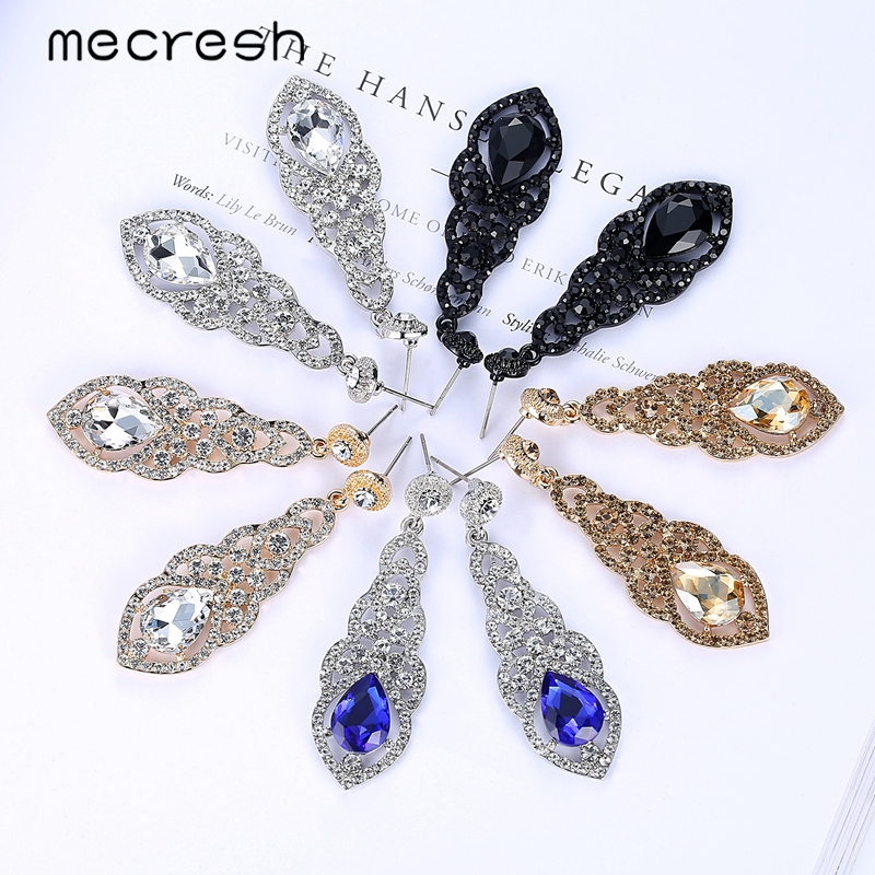 Mecresh Kristal Pernikahan Earrings untuk Wanita Lucu Warna Silver - Perhiasan fashion - Foto 6