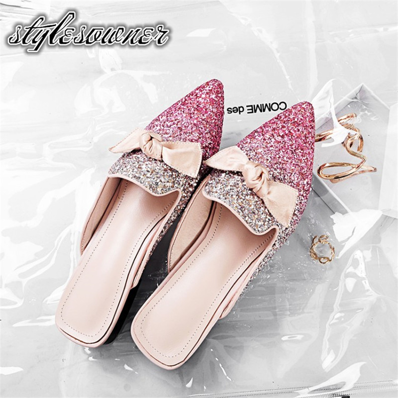 Stylesowner Korean Style Fashionable Woman Slippers Sequin Low Heels Pointed Toe Popular Trend Square Heel Female SlippersStylesowner Korean Style Fashionable Woman Slippers Sequin Low Heels Pointed Toe Popular Trend Square Heel Female Slippers