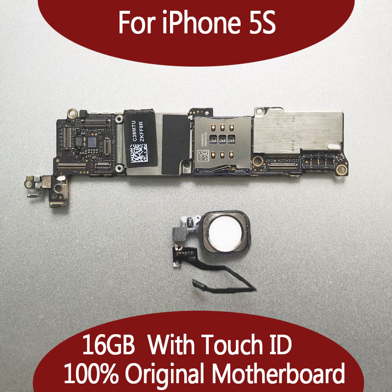 100 Original Unlocked 16gb 5s Mainboard with Touch ID for iphone 5s Motherboard with Fingerprint Identification
