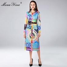 MoaaYina Spring Autumn Vintage Colorful Women's Dress Fashion Designer Dresses Long sleeve Print Belt Slim Elegant Runway Dress