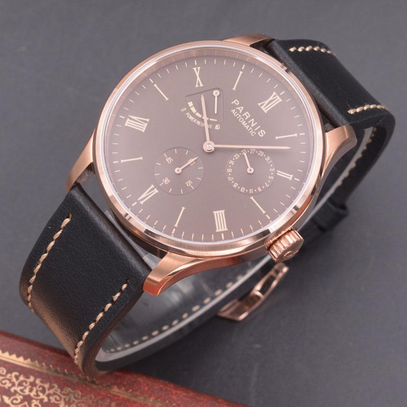 цена Parnis 42mm watch Rose gold case coffee dial Seagull Movement Automatic mechanical men watch Power Reserve watch PN-611 онлайн в 2017 году