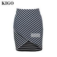 KIGO Women Black Cross Front Striped Bodycon Skirt High Waist Mini Wrap Skirt Sexy Casual Irregular