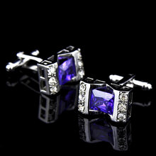 Wedding Party Business French Shirts Cuff Links Bluish Violet Crystal Zircon Hollow Out Cufflinks Silvery Cufflink With Gift Bag(China)