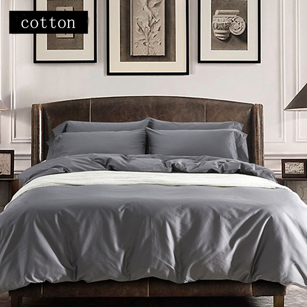 Luxury Gray Satin Bedding Set Cotton Bedspread Bed Linen Duvet Cover Bed  Sheet King Queen Size Bed Set Bed Cover Pillowcase 4pcs In Bedding Sets  From Home ...