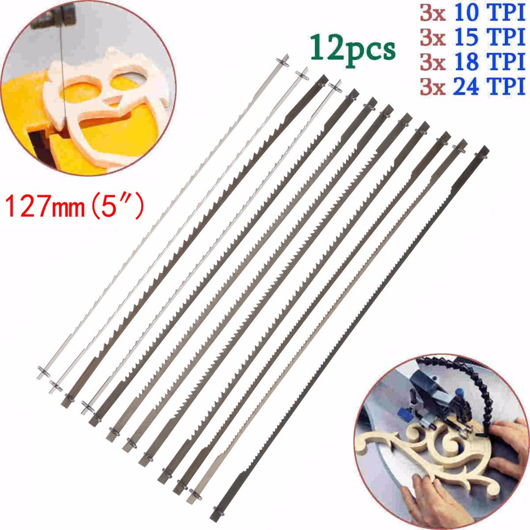 12pcs/set Scroll Saw Blades For Woodworking 4 kinds Scroll Saw Blades 10/15/18/24 Inch Teeth Wood Cutting Saw Blade Mayitr