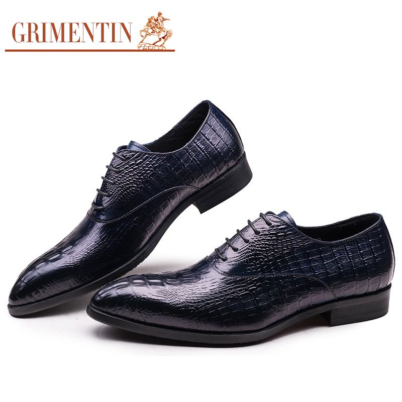 8ebac3c6bf US $99.0 45% OFF|GRIMENTIN Brand dress men shoes genuine leather mens  wedding shoes crocodile style black blue brown Italian male formal shoes-in  ...