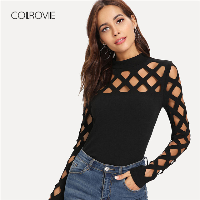 COLROVIE Black Slim Square Cutout Shoulder T-Shirt 2018 Autumn Long Sleeve Shirt Ladies Top Tee Solid Causal Women Clothing