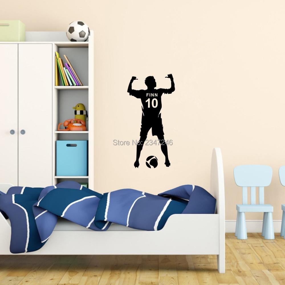 Customized football player wall stickers personalized boys name customized football player wall stickers personalized boys name and number soccer man vinyl mural decals for room decoration in wall stickers from home amipublicfo Image collections