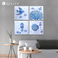 3D Art Pictures on the Wall Sea Oil Paintings for Living Room Wall Triptych Paintings