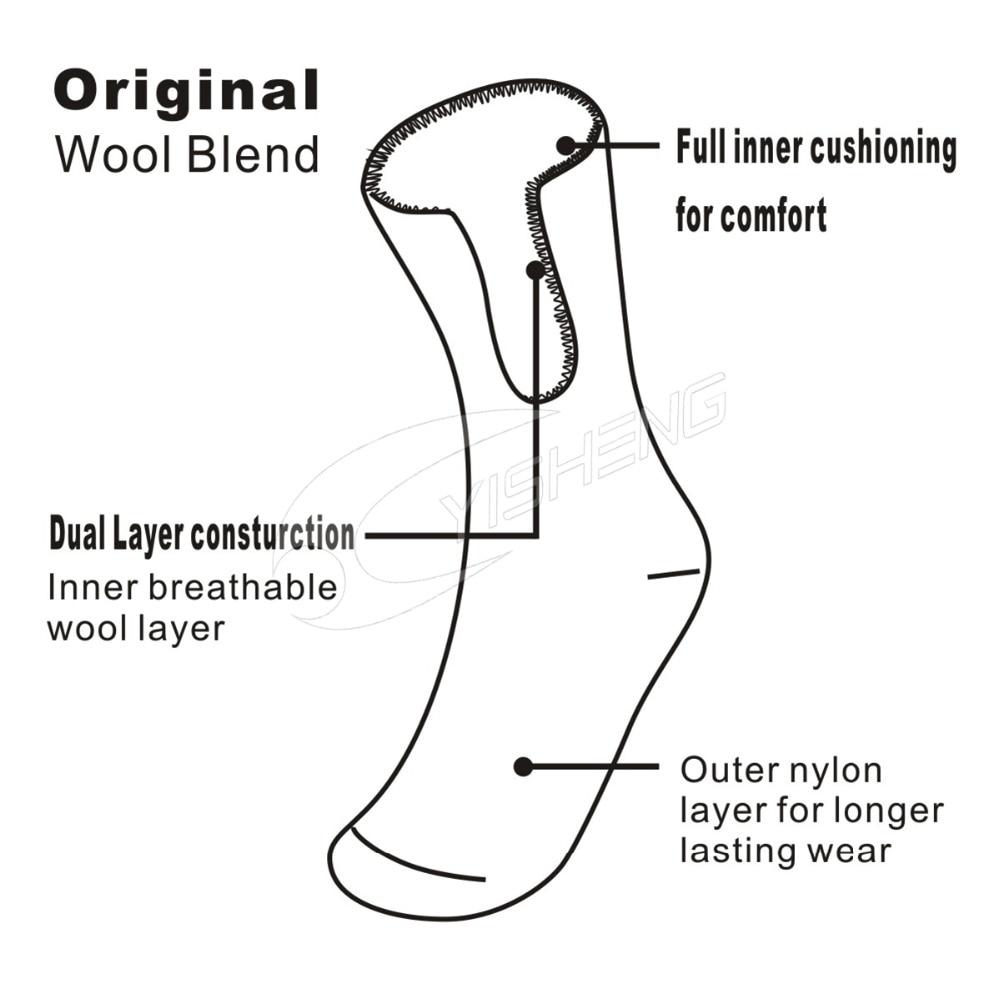 YISHENG Full Cushioning Terry Super Thick Warm Merino Wool Crew Skiing Socks for Men Plus Size Outdoor Hiking Socks